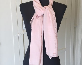 Vintage Pink Sheer Nylon Scarf, Pink Chiffon Scarf, Long Pink Scarf, Light Pink, 50's 60's Style, Rockabilly, Pin Up, Neck Scarf, Hair Scarf