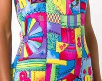 Vintage Versus Versace multi coloured print stretch catsuit/jumpsuit IT42 UK8-10