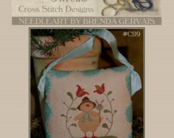 """WITH THY NEEDLE & Thread """"Easter Peep""""   Primitive Counted Cross Stitch Pattern   Easter, Spring, Bunny, Chick, Flowers"""