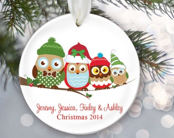 Personalized Family Christmas Ornament Owl Family of 4 Owls Ornament Christmas Gift Custom Ornament Holiday Gift Name & Date Four OR254