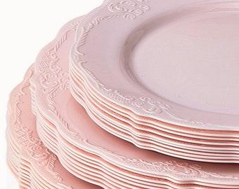 Vintage Style Modern Elegance Party Plates, Pink Disposable Plates, Elegant Wedding Dinner Plates ,Dessert Plates, Plastic Party Plates