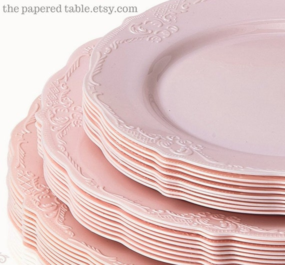 sc 1 st  Etsy & Vintage Style Modern Elegance Party Plates Pink Disposable