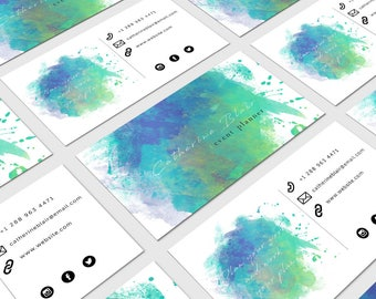 Business Card Template Event Planner/template/watercolor/planner/download/photoshop/card/creative/elegant/modern/business card/stationery
