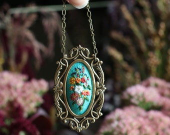 Farmer's Market Bouquet No. 4- hand embroidered necklace, white, floral, wildflowers, flowers, sunflower