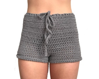 High Waisted Crochet Shorts | cotton shorts, swimsuit cover up, summer shorts, light weight shorts, handmade shorts, shorts for her