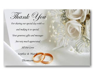 50 Personalised Wedding Day , Wedding Evening Thank You Thankyou Cards Ref W9 With self seal envelopes