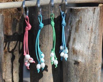 Pearl and Leather Keychains in a Variety of Colours
