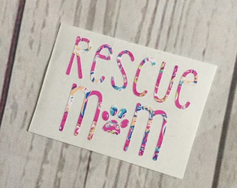 Rescue Mom Decal - Shelter Dog Decal - Pattern Dog Print Vinyl Decal - Initial Decal - Car Decal - Laptop - Cup Decal - Dog Decal