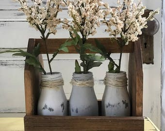 Milk Bottles, Rustic Wedding, Rustic Decor, Shabby Chic Decor, Wedding Centerpiece for Table, Farmhouse Decor, Floral Centerpiece, Wedding