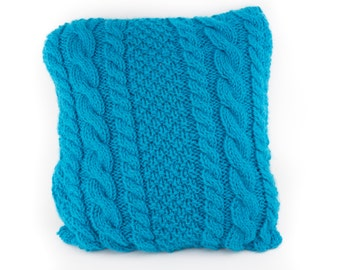 THE AVERAGE JANE Knitted square cable pillow cover - made-to-order Decorative, cabled throw pillow turquoise pillow cover