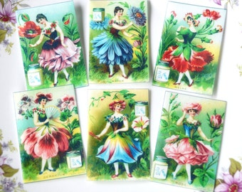Edible Flower Fairy Ladies x 18 Petal Flowers Wafer Rice Paper Vintage Image Cake Decoration Cupcake Cookie Topper Spring Wedding Favour RTD