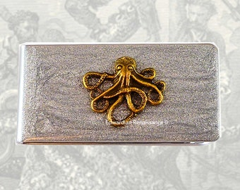 Money Clip Octopus Inlaid in Hand Painted Enamel Metallic Silver Kraken Neo Vistorian Inspired Custom Colors and Personalized Options
