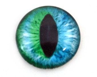 25mm Teal Blue-Green Cat Eye or Glass Dragon Eye