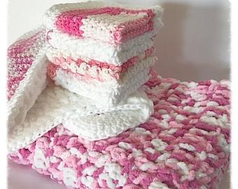 Handmade 6-Piece Pink Baby Blanket Gift Set