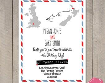 Destination Wedding Invitation - Air Mail Travel Theme - Custom Countries - Printable - DIY