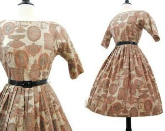 Vintage 50s Dress Novelty Print Cotton Dress Full Skirt Rockabilly Day Dress M