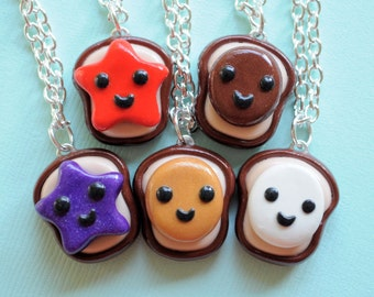 5 Best Friend Peanut Butter and Jelly Necklace Set Friendship Food Jewelry Polymer Clay Kawaii BFF Necklaces