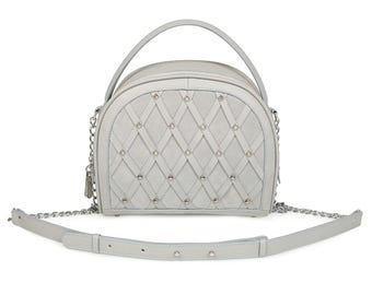 Leather Cross body Bag, Grey Leather Shoulder Bag, Women's Leather Crossbody Bag, Leather bag KF-949