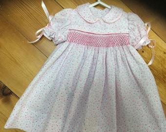 Smocked hand made baby dress