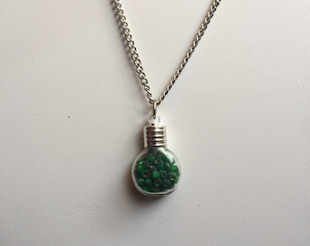Glass Bead-Filled Glass Bottle Charm Necklace