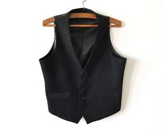 Black Classic Mens Steampunk Vest Gentlemen's Edwardian Victorian Formal Wear Black Gothic Waistcoat Back To School Dress Up Size Large Vest