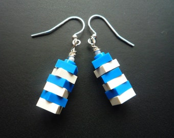 Stripy dangle earrings made from Lego® bricks with silver plated hooks. Available in a wide variety of colours: blue, yellow, green, pink
