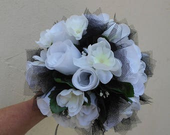 Black and white artificial flowers wedding bouquet - Kamilla""