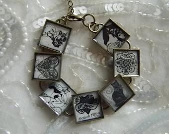 Love Potion No. 9 Decoupage Bracelet with Bezels