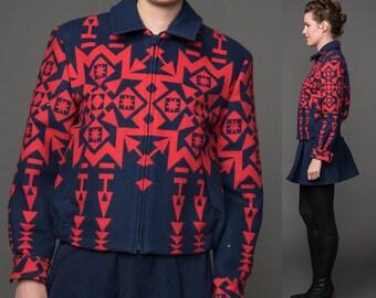 Pendleton Blanket Jacket Fitted Coat Native American Indian Navajo Southwestern Southwest Small XS Short Petite Bomber