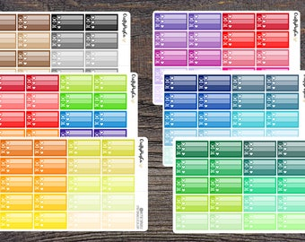 To Do Heart Checklists - Functional Multicolor Rainbow Neutrals - Erin Condren Planner Stickers