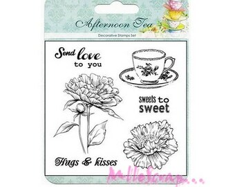 """Clear stamps """"Afternoon Tea"""" 2 scrapbooking embellishment *."""