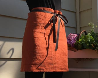 Linen half apron. Linen cafe apron. Eco - friendly linen midi apron. Washed softened handmade linen apron. Orange linen apron.
