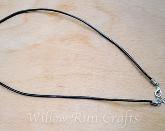 25 Leather Necklaces 18 inch Black with extender (16-86-424)