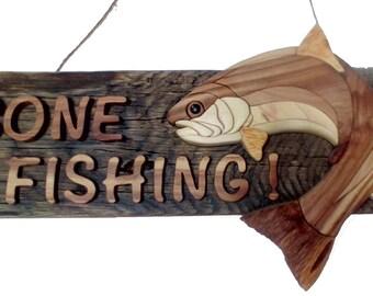 Gone fishing Intarsia