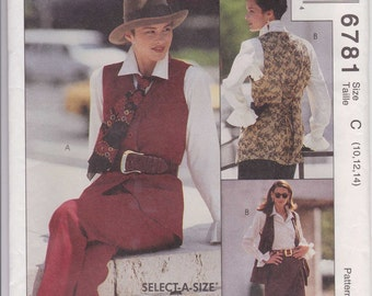 Skirt Pattern Lined Vest Blouse Pants Misses Size 10 - 14 uncut 1993 McCalls 6781