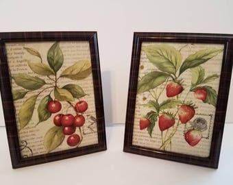 Framed Fruit Prints, Kitchen Wall Decor, Strawberries, Berries