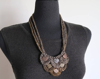 Light Khaki Gray Color Statement Necklace Fiber Crochet Bib Style Steampunk Heart Necklace with Metal Pendants