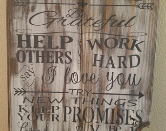 FAMILY RULES, made from reclaimed wood and chalk painted just for you.