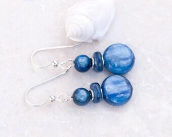 RESERVED for Francoise: Kyanite Earrings, Denim Blue Earrings, Blue Kyanite Earrings, Sterling Silver, Healing Energy, Chakra Stone