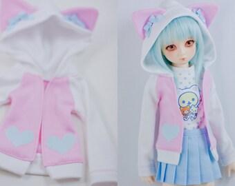 Slim MSD or SD BJD hoodie - Pink and White with Cat Ears Hoodie Jacket