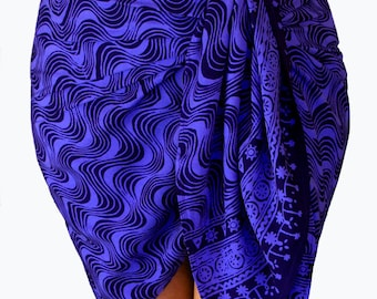 Batik Sarong Skirt Women's Clothing - Beach Sarong Mini Skirt Indigo Purple Waves Sarong Wrap Skirt Short Bikini Beach CoverUp - Surfer Gift
