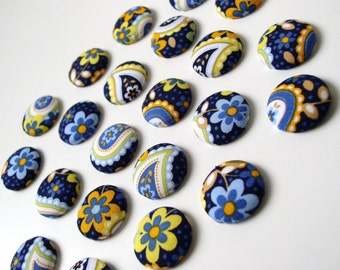 Fabric Magnets Blue and Yellow - Girls Shabby Chic Cottage Magnets Extra Strong for our Magnetic Bulletin Board - Set of 20 Extra STRONG