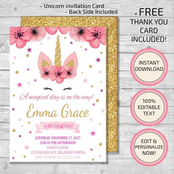 Unicorn invitation unicorn birthday invitation floral stopboris Choice Image