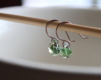 Water Droplet Earrings - Borosilicate Glass Teardrops on Antique Copper Wires in Grass Green