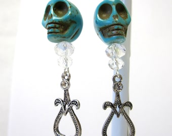 Turquoise Blue Sugar Skull Earrings Day Of The Dead Jewelry