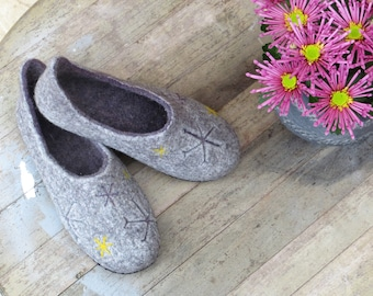 Felt slippers, boiled wool slippers, home shoes, wool clogs, ECO, mules, warm shoes, Christmas gift, cozy gift, handmade, WoolDreamer