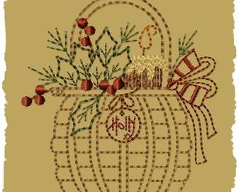 Holly Basket--Version 2--4x4-INSTANT DOWNLOAD