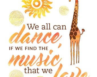 Find The Music, Printable Art Quote Poster, Digital Instant Download