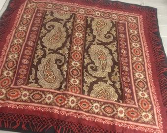 Vintage Jacqueline Ferrar Sueded Silk Scarf Batik Paisley Earth Tones Red Black