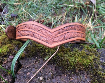 Leather Dog Collar Hand Tooled Feathers Tan